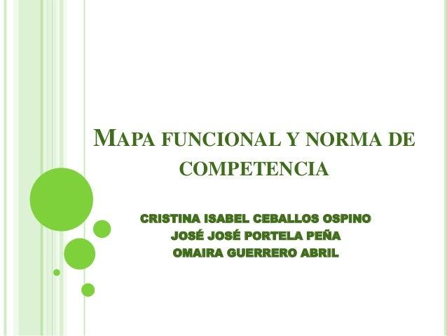 MAPA FUNCIONAL Y NORMA DE COMPETENCIA CRISTINA ISABEL CEBALLOS OSPINO JOSÉ JOSÉ PORTELA PEÑA OMAIRA GUERRERO ABRIL