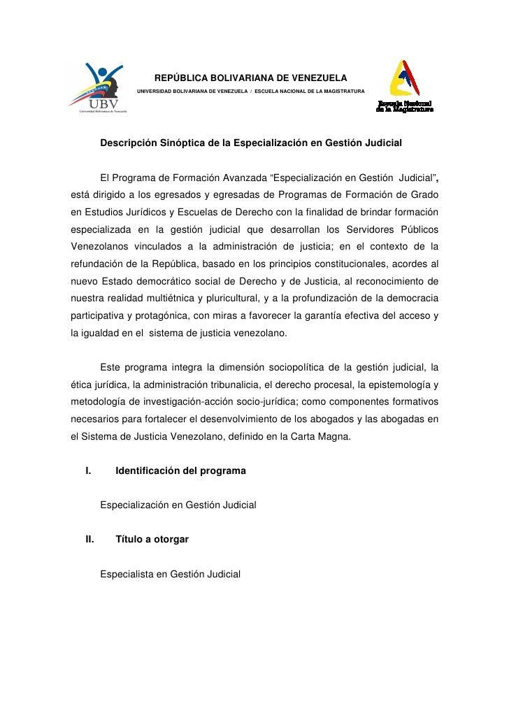 REPÚBLICA BOLIVARIANA DE VENEZUELA                 UNIVERSIDAD BOLIVARIANA DE VENEZUELA / ESCUELA NACIONAL DE LA MAGISTRAT...