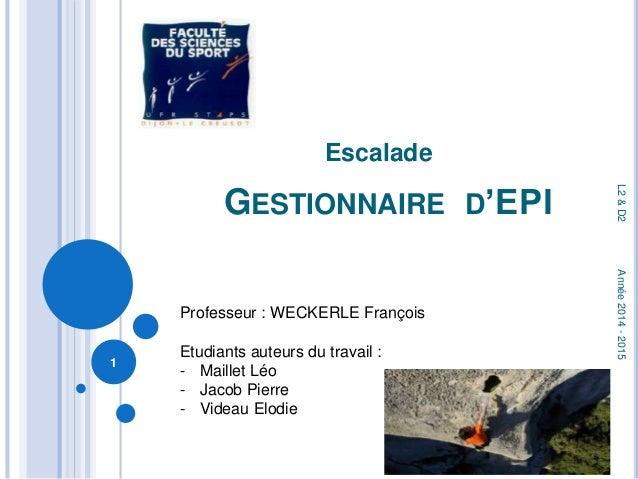 Escalade  GESTIONNAIRE D'EPI  1  L2 & D2 Année 2014 - 2015  Professeur : WECKERLE François  Etudiants auteurs du travail :...