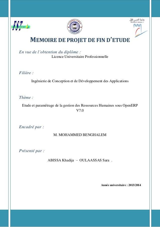 MEMOIRE DE PROJET DE FIN D'ETUDE En vue de l'obtention du diplôme : Licence Universitaire Professionnelle Filière : Ingéni...
