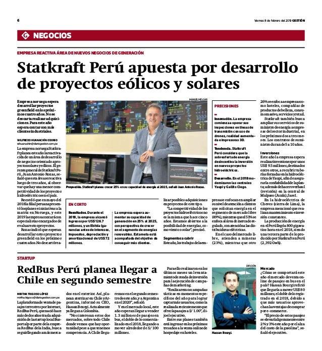 6 viernes 8 de febrero del 2019 Gestión negocios empresa reactiva Área de nuevos negocios de generación Statkraft Perú apu...