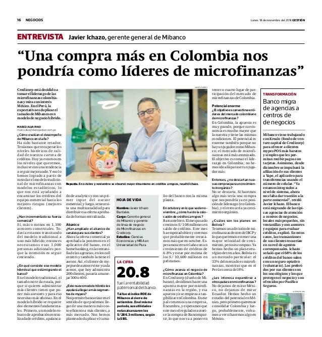 """16 lunes 18 de noviembre del 2019 GestiónNegocios """"Una compra más en Colombia nos pondría como líderes de microfinanzas"""" ¿..."""