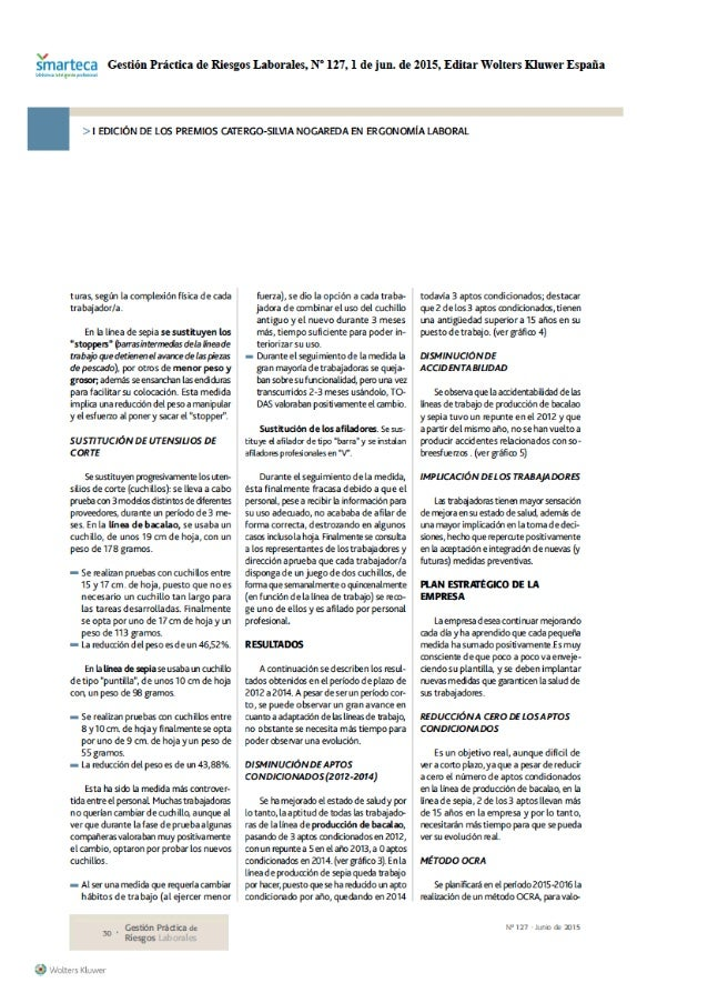¿Fnarteca Gestión Práctica de Riesgos Laborales,  N' 127, l de jun.  de 2015, Editar Wolters Kluwer España   l EDlClÓN DE ...