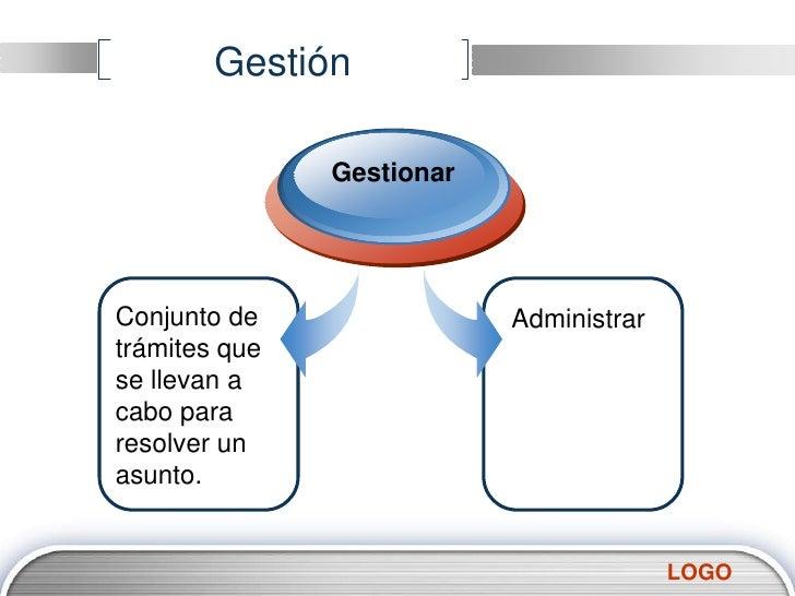 Gestión<br />Gestionar<br />Conjunto de trámites que se llevan a cabo para resolver un asunto.<br />Administrar<br />