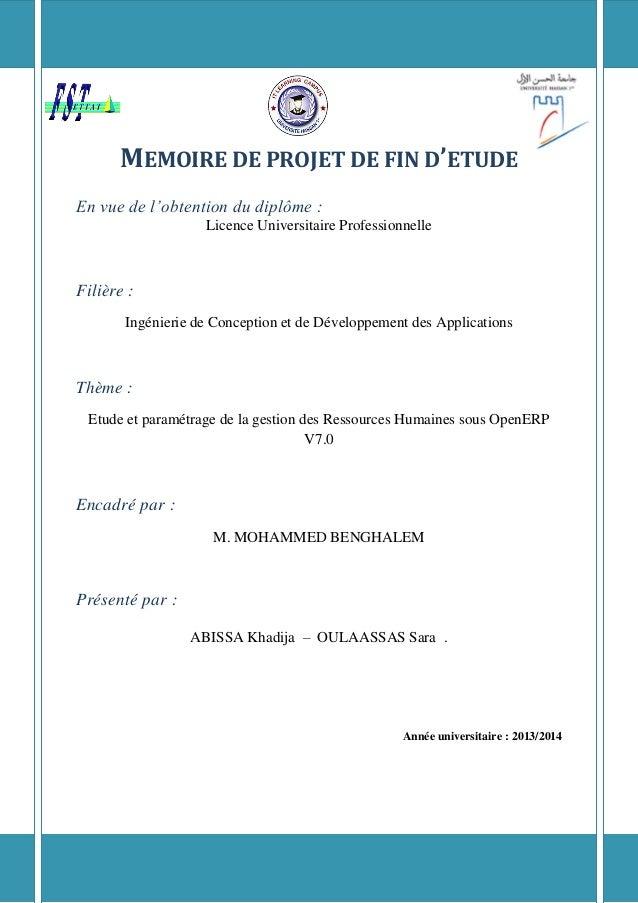 MEMOIRE DE PROJET DE FIN D'ETUDE  En vue de l'obtention du diplôme :  Licence Universitaire Professionnelle  Filière :  In...