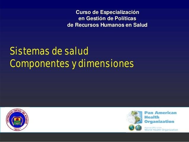 Curso de Especialización               en Gestión de Políticas           de Recursos Humanos en SaludSistemas de saludComp...