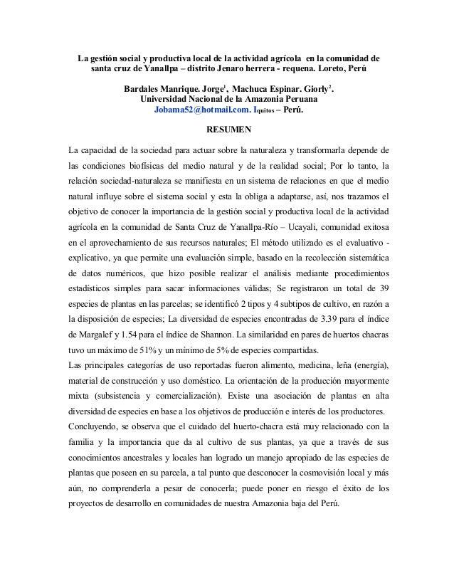 La gestión social y productiva local de la actividad agrícola en la comunidad de santa cruz de Yanallpa – distrito Jenaro ...