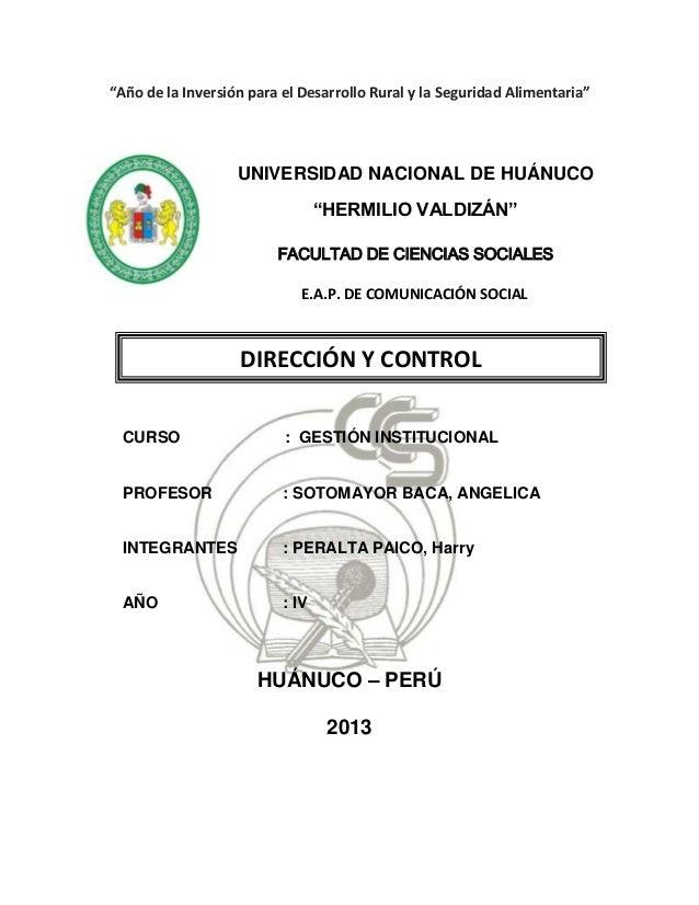 """""""Año de la Inversión para el Desarrollo Rural y la Seguridad Alimentaria""""UNIVERSIDAD NACIONAL DE HUÁNUCO""""HERMILIO VALDIZÁN..."""
