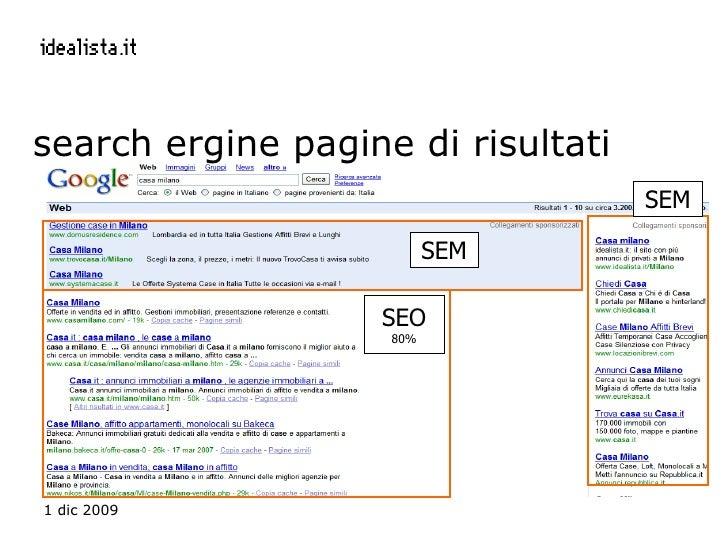 search ergine pagine di risultati SEO 80% SEM SEM