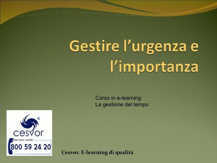 Corso in e-learning             La gestione del tempoCesvor. E-learning di qualità