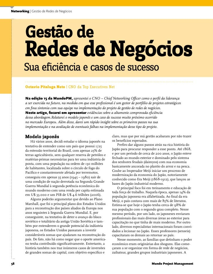 Networking | Gestão de Redes de Negócios              Gestão de          Redes de Negócios         Sua eficiência e casos ...