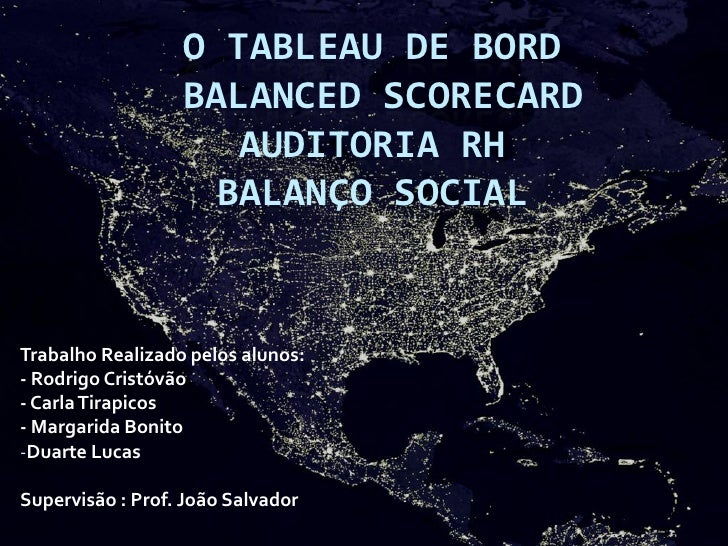 O TABLEAU DE BORD                   BALANCED SCORECARD                      AUDITORIA RH                     BALANÇO SOCIA...