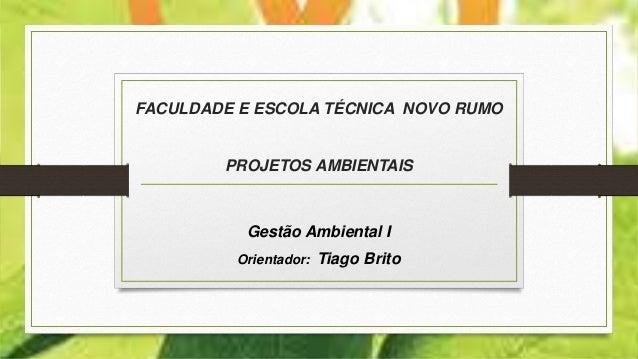FACULDADE E ESCOLA TÉCNICA NOVO RUMO PROJETOS AMBIENTAIS Gestão Ambiental I Orientador: Tiago Brito