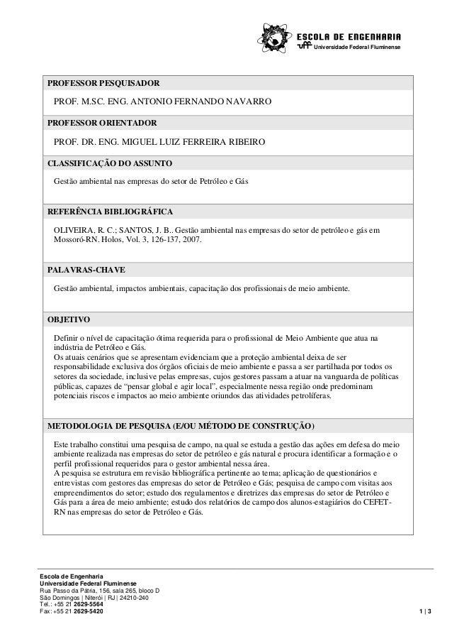 Universidade Federal Fluminense  PROFESSOR PESQUISADOR  PROF. M.SC. ENG. ANTONIO FERNANDO NAVARRO PROFESSOR ORIENTADOR  PR...