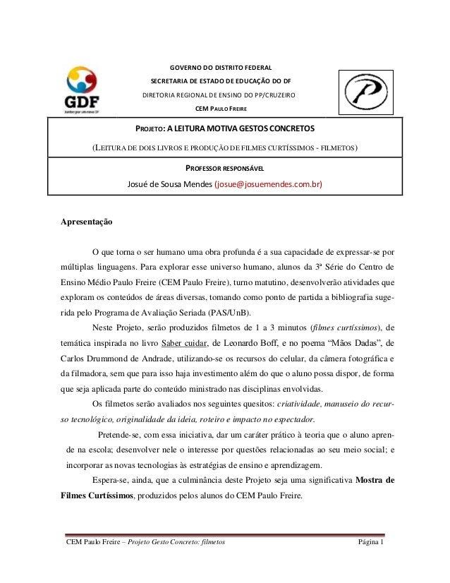 GOVERNO DO DISTRITO FEDERAL                            SECRETARIA DE ESTADO DE EDUCAÇÃO DO DF                         DIRE...