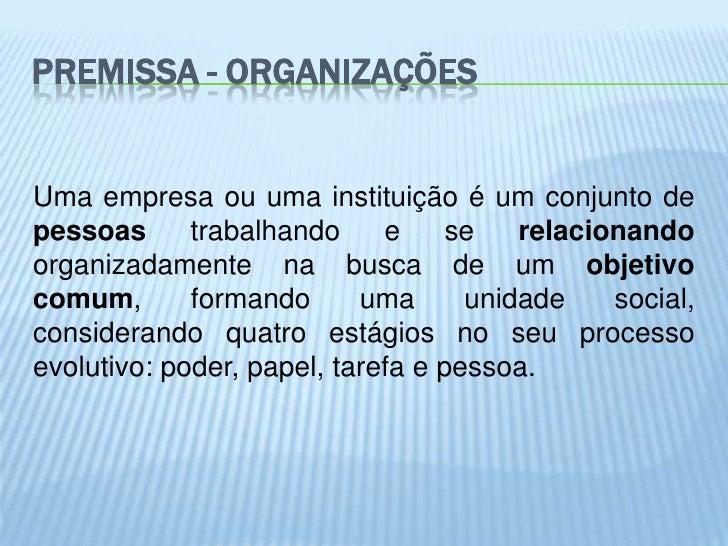 PREMISSA - ORGANIZAÇÕESUma empresa ou uma instituição é um conjunto depessoas      trabalhando     e     se   relacionando...