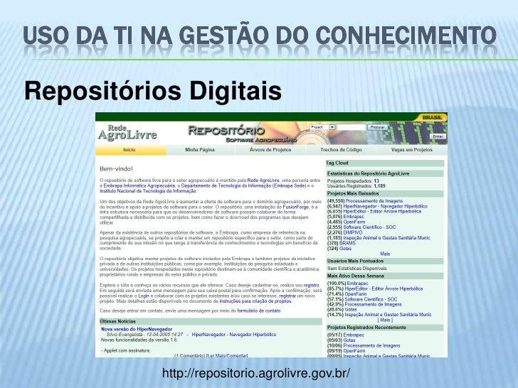 USO DA TI NA GESTÃO DO CONHECIMENTORepositórios Digitais           http://repositorio.agrolivre.gov.br/