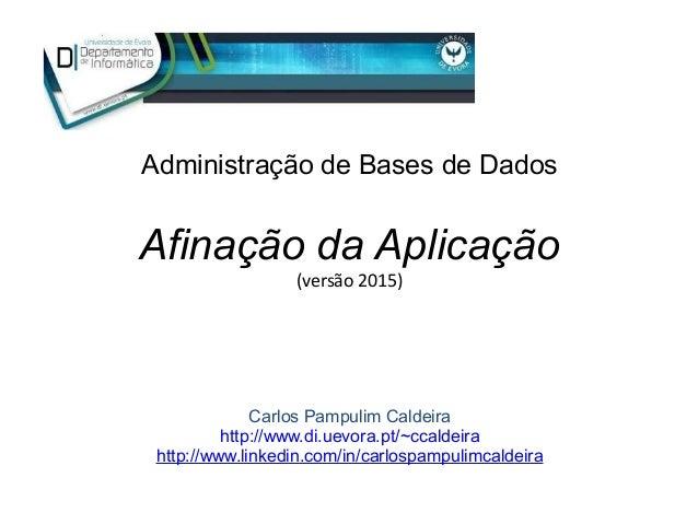 Afinação da Aplicação (versão 2015) Administração de Bases de Dados Carlos Pampulim Caldeira http://www.di.uevora.pt/~ccal...