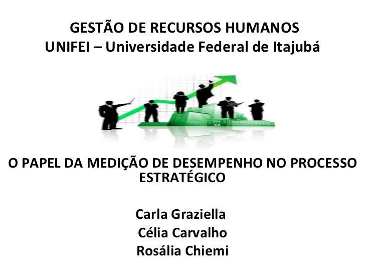 GESTÃO DE RECURSOS HUMANOS    UNIFEI – Universidade Federal de ItajubáO PAPEL DA MEDIÇÃO DE DESEMPENHO NO PROCESSO        ...