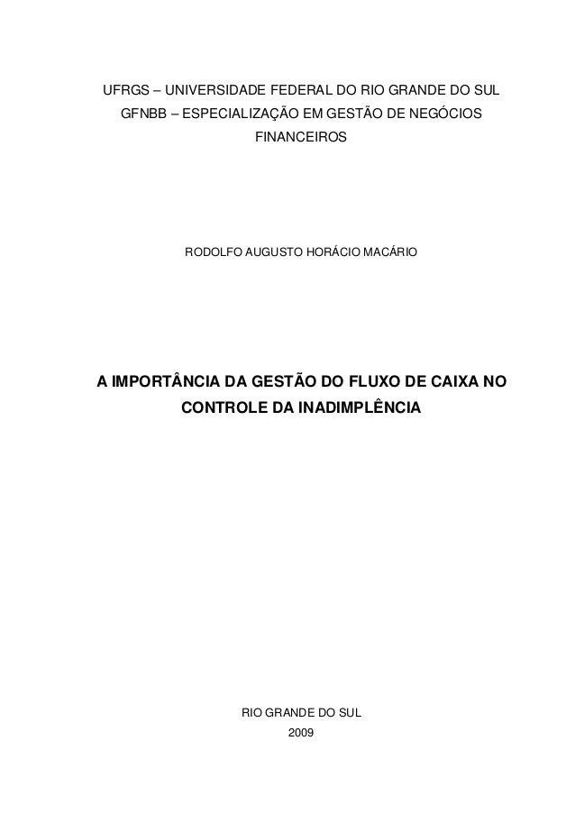 UFRGS – UNIVERSIDADE FEDERAL DO RIO GRANDE DO SUL GFNBB – ESPECIALIZAÇÃO EM GESTÃO DE NEGÓCIOS FINANCEIROS RODOLFO AUGUSTO...