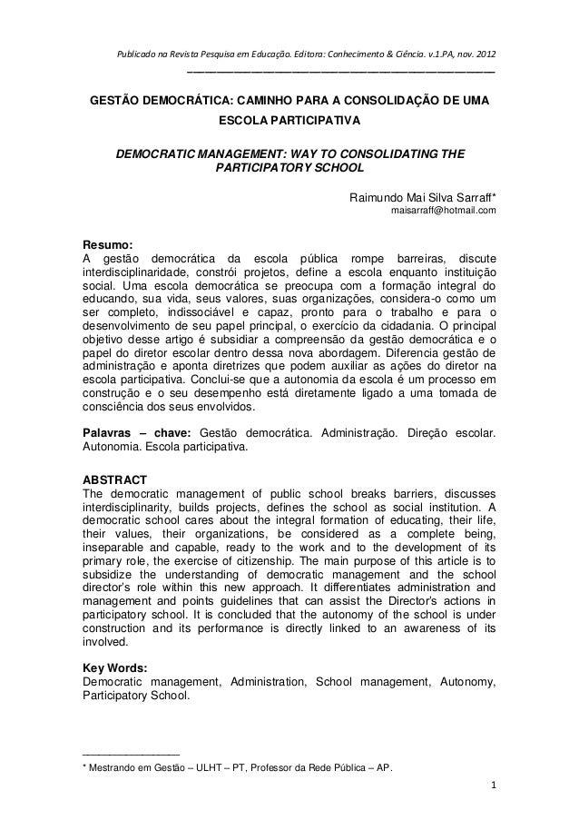 Publicado na Revista Pesquisa em Educação. Editora: Conhecimento & Ciência. v.1.PA, nov. 2012 ____________________________...