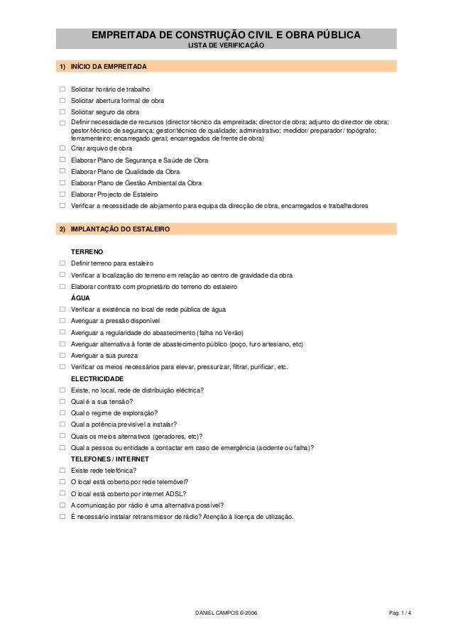 EMPREITADA DE CONSTRUÇÃO CIVIL E OBRA PÚBLICA                                              LISTA DE VERIFICAÇÃO1) INÍCIO D...