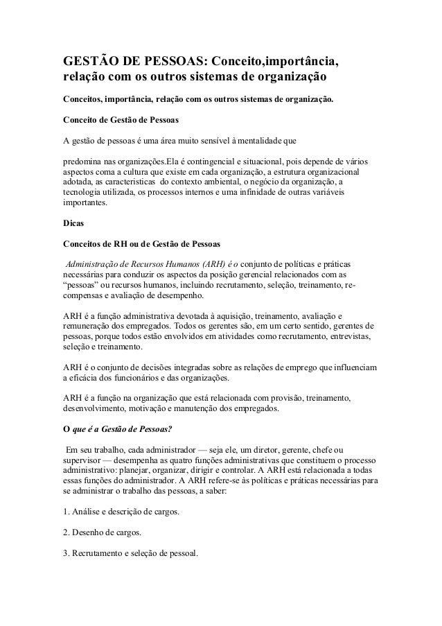 GESTÃO DE PESSOAS: Conceito,importância,relação com os outros sistemas de organizaçãoConceitos, importância, relação com o...