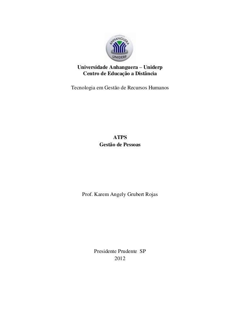 Universidade Anhanguera – Uniderp    Centro de Educação a DistânciaTecnologia em Gestão de Recursos Humanos               ...