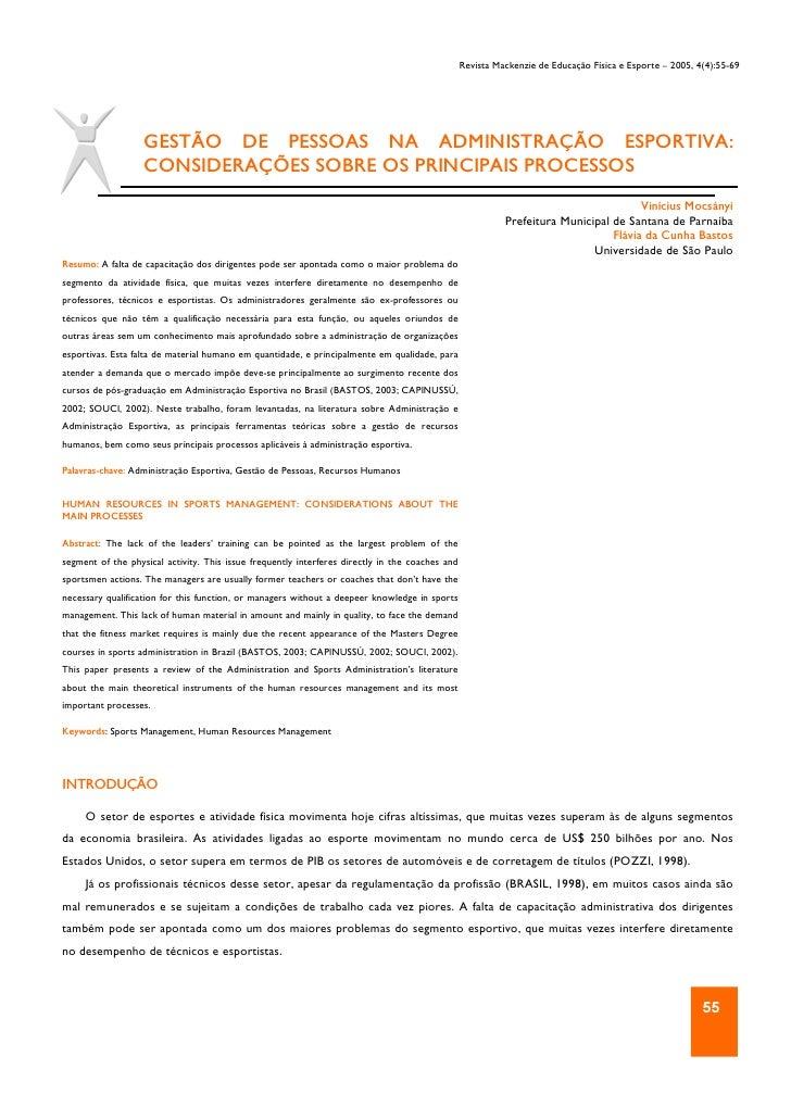 Revista Mackenzie de Educação Física e Esporte – 2005, 4(4):55-69                        GESTÃO DE PESSOAS NA ADMINISTRAÇÃ...