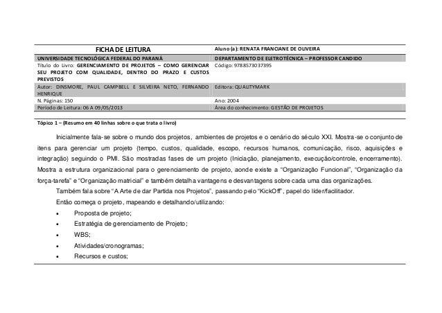 FICHA DE LEITURA Aluno (a): RENATA FRANCIANE DE OLIVEIRAUNIVERSIDADE TECNOLÓGICA FEDERAL DO PARANÁ DEPARTAMENTO DE ELETROT...