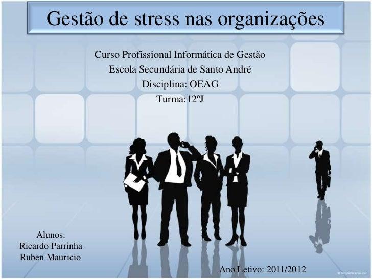 Gestão de stress nas organizações                   Curso Profissional Informática de Gestão                      Escola S...