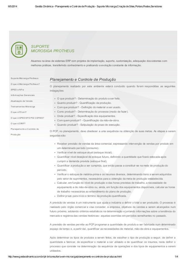 6/5/2014 Gestão Dinâmica - Planejamento e Controle de Produção - Suporte Microsiga,Criação de Sites,Portais,Redes,Servidor...