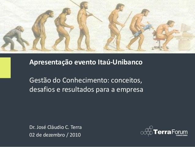 Dr. José Cláudio C. Terra 02 de dezembro / 2010 Apresentação evento Itaú-Unibanco Gestão do Conhecimento: conceitos, desaf...