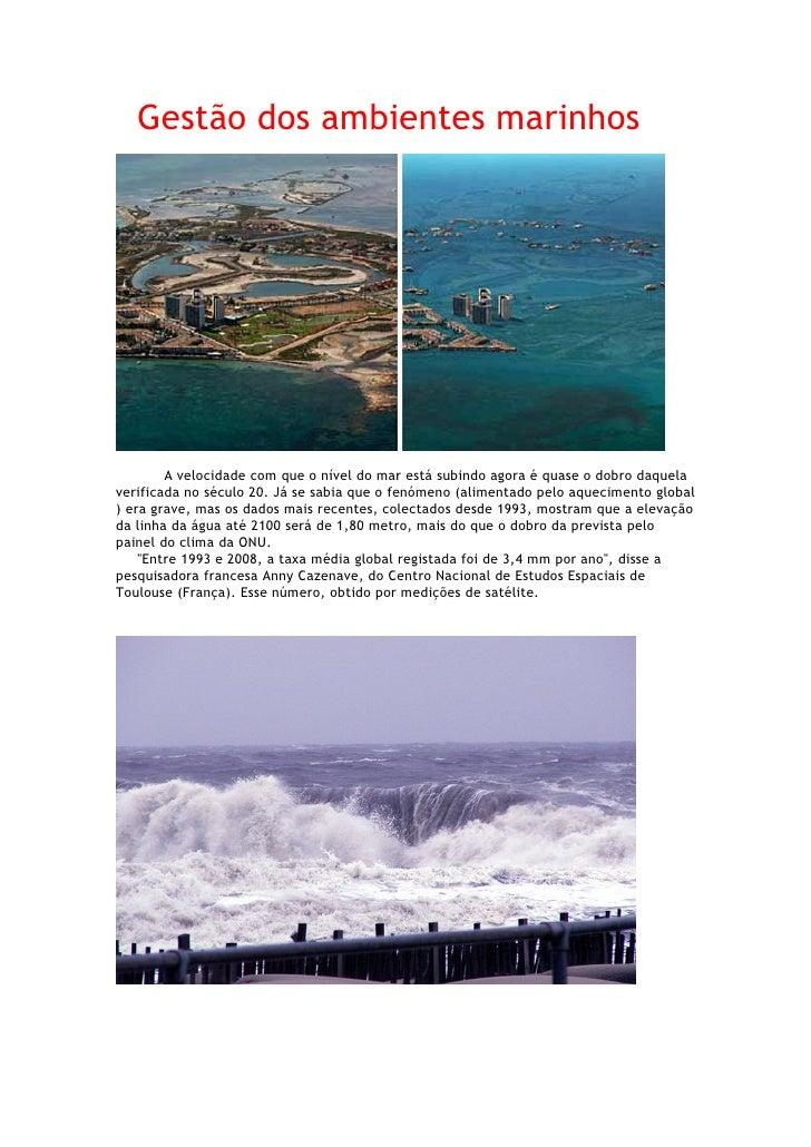 Gestão dos ambientes marinhos             A velocidade com que o nível do mar está subindo agora é quase o dobro daquela v...