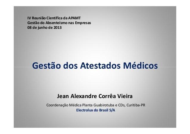 Gestão dos Atestados Médicos IV Reunião Científica da APAMT Gestão do Absenteísmo nas Empresas 08 de junho de 2013 Gestão ...