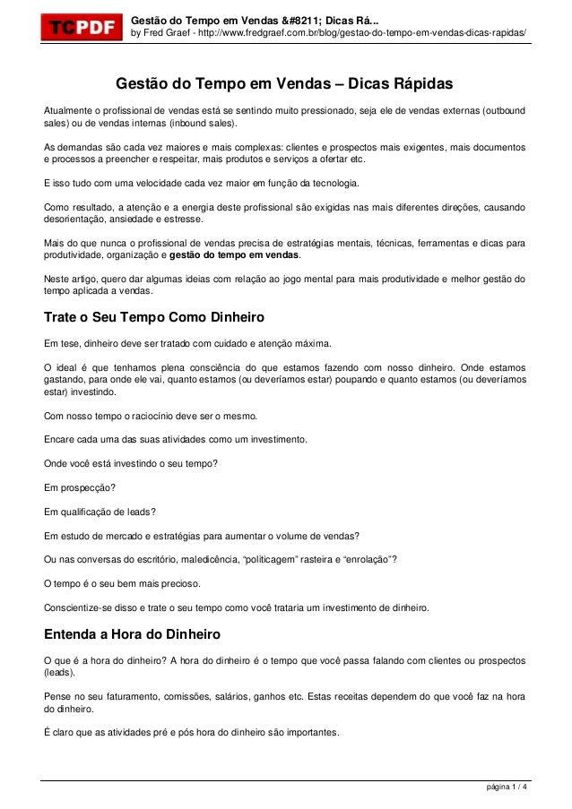 Gestão do Tempo em Vendas – Dicas Rá... by Fred Graef - http://www.fredgraef.com.br/blog/gestao-do-tempo-em-vendas-dicas-r...