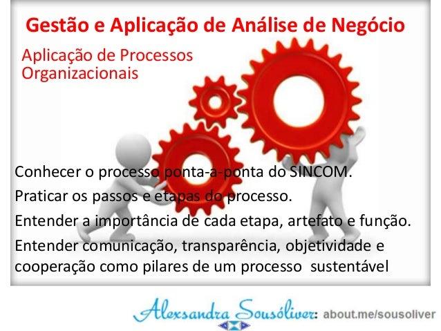 Gestão e Aplicação de Análise de Negócio Aplicação de Processos Organizacionais  Conhecer o processo ponta-a-ponta do SINC...