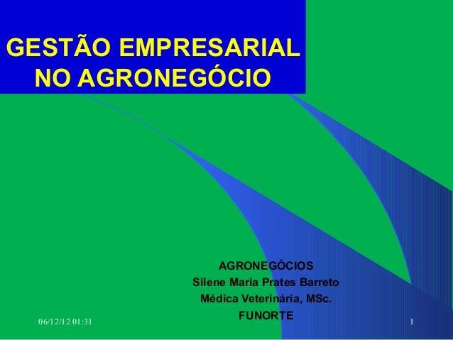 GESTÃO EMPRESARIAL  NO AGRONEGÓCIO                        AGRONEGÓCIOS                   Silene Maria Prates Barreto      ...