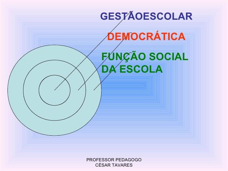 GESTÃOESCOLAR      DEMOCRÁTICA    FUNÇÃO SOCIAL    DA ESCOLAPROFESSOR PEDAGOGO   CÉSAR TAVARES