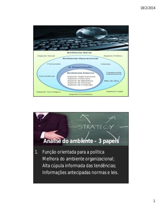 18/2/2014 1 Analise do ambiente – 3 papeis 1. Função orientada para a política Melhora do ambiente organizacional; Alta cú...
