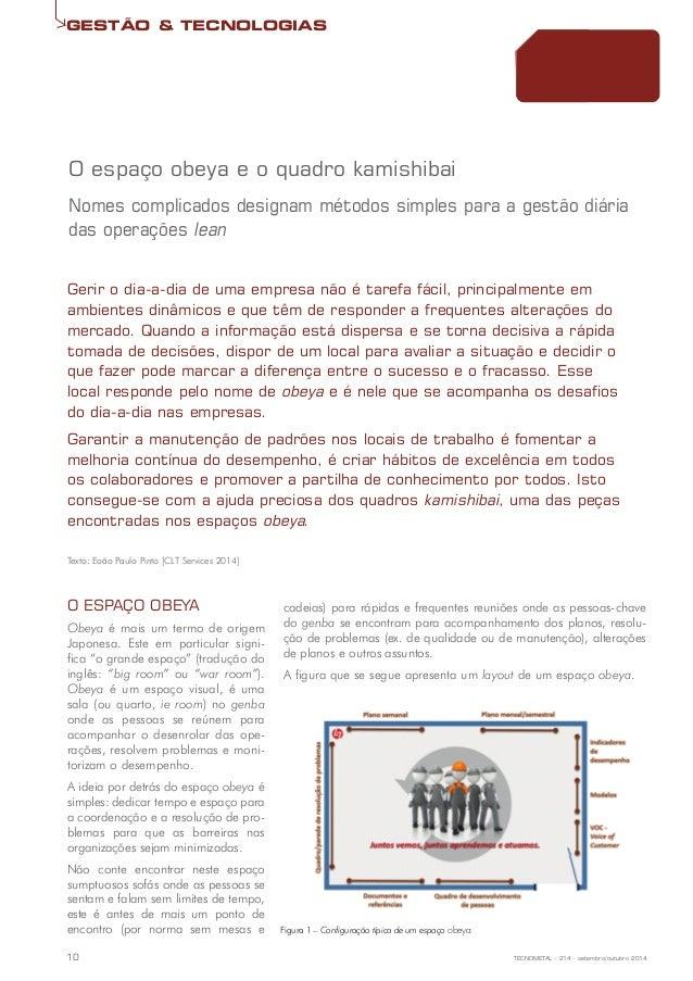 GESTÃO & TECNOLOGIAS  O espaço obeya e o quadro kamishibai  Nomes complicados designam métodos simples para a gestão diári...