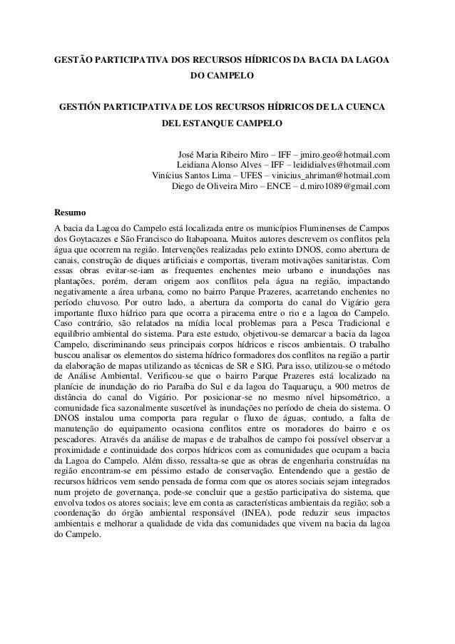 GESTÃO PARTICIPATIVA DOS RECURSOS HÍDRICOS DA BACIA DA LAGOA DO CAMPELO  GESTIÓN PARTICIPATIVA DE LOS RECURSOS HÍDRICOS DE...