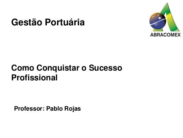 Como Conquistar o Sucesso Profissional Professor: Pablo Rojas Gestão Portuária