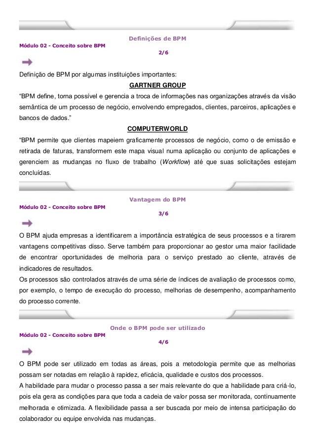 Definições de BPM Módulo 02 - Conceito sobre BPM 2/6 Definição de BPM por algumas instituições importantes: GARTNER GROUP ...