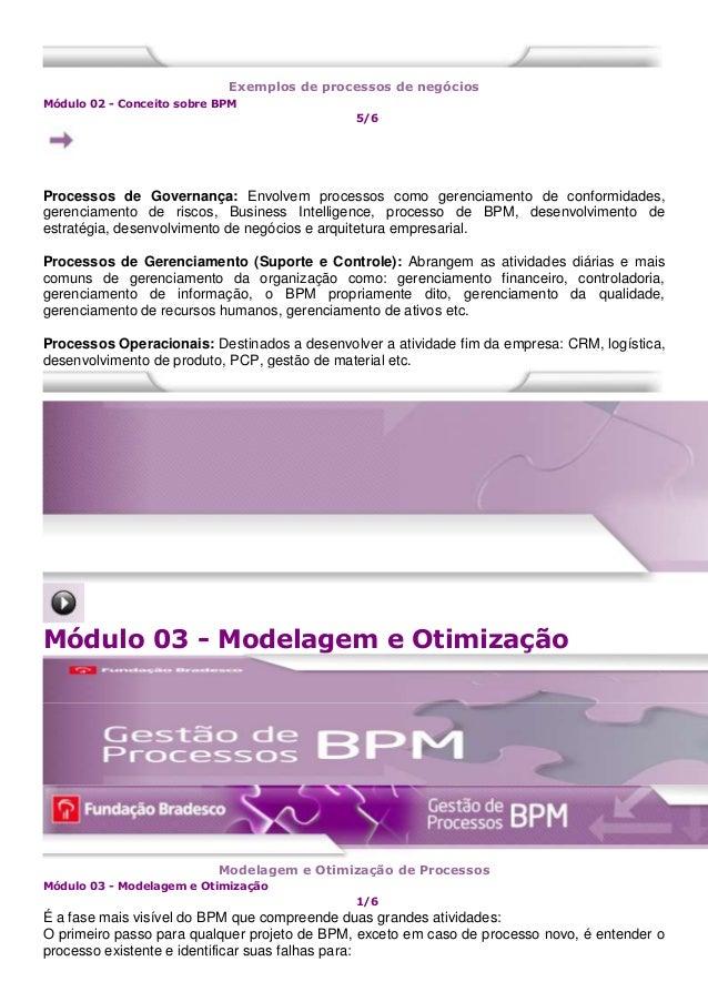 Exemplos de processos de negócios Módulo 02 - Conceito sobre BPM 5/6 Processos de Governança: Envolvem processos como gere...
