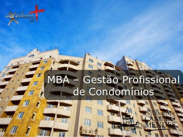MBA – Gestão Profissional de Condomínios