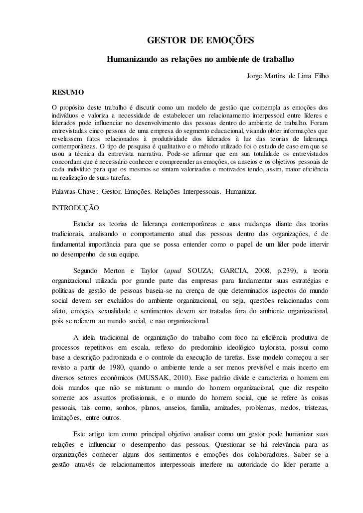 GESTOR DE EMOÇÕES                   Humanizando as relações no ambiente de trabalho                                       ...