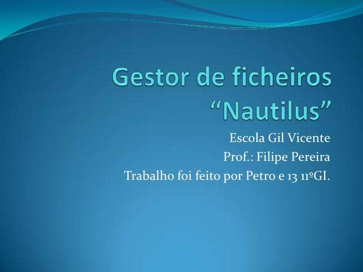 Escola Gil Vicente                   Prof.: Filipe PereiraTrabalho foi feito por Petro e 13 11ºGI.