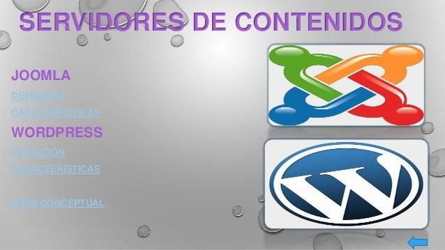 JOOMLA DEFINICIÓN CARACTERÍSTICAS WORDPRESS DEFINICIÓN CARACTERÍSTICAS MAPA CONCEPTUAL SERVIDORES DE CONTENIDOS