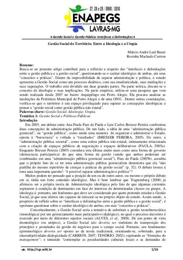 # Gestão Social e Gestão Pública: Interfaces e Delimitações #                    Gestão Social do Território: Entre a Ideo...